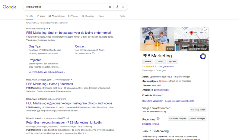 Het aanpassen van Google mijn Bedrijf